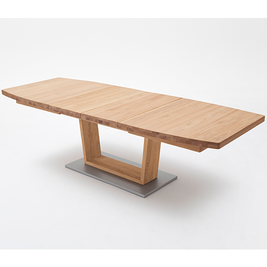 Cantania Extending Boat Shaped V-Leg Dining Table In Wild Oak_1