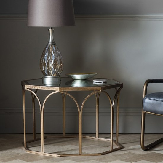 Canterbury Octagonal Glass Coffee Table In Gold