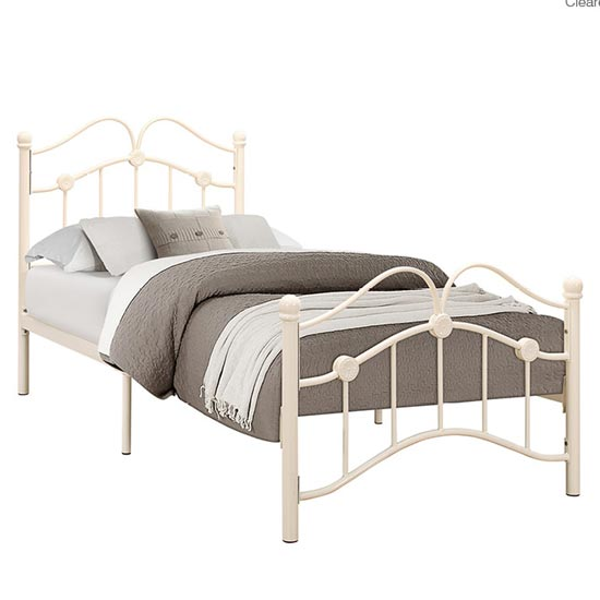 Canterbury Steel Single Bed In Cream