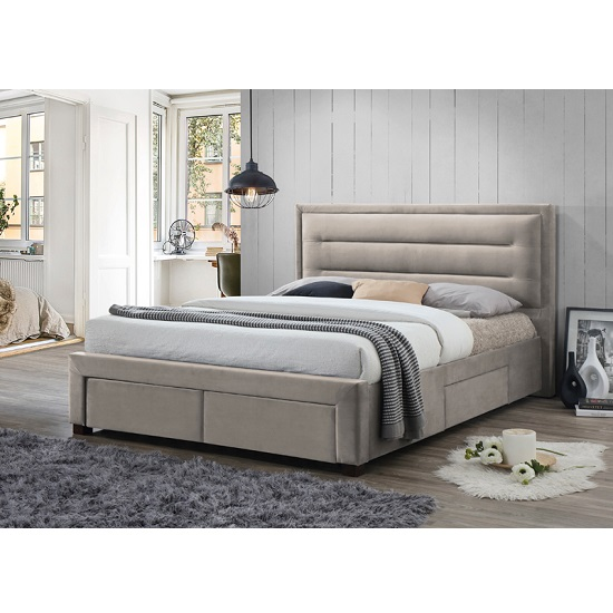 Canterbury Contemporary Fabric Bed In Champagne With Storage