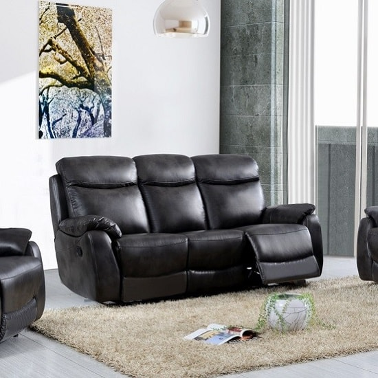 Image of Canton Recliner 3 Seater Sofa In Grey Faux Leather