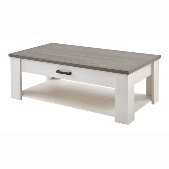 Adrina Coffee Table In Prata Oak And Anderson White Pine
