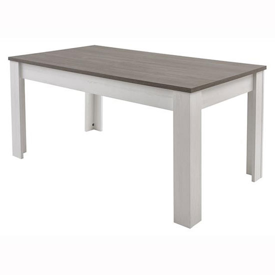 Adrina Dining Table In Prata Oak And Anderson White Pine