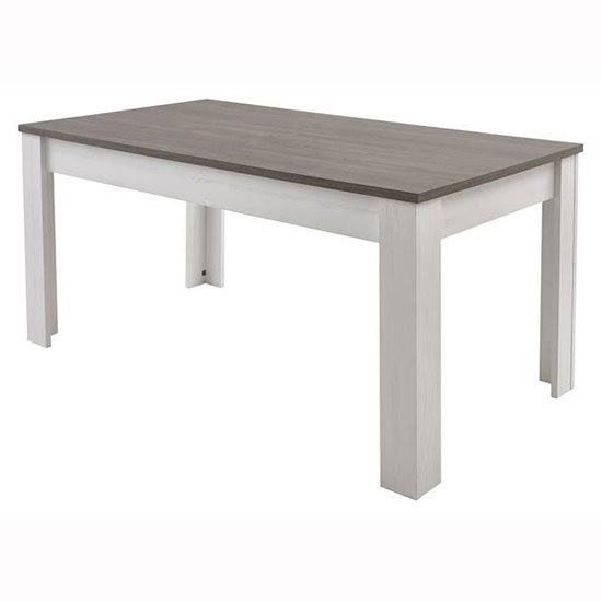 Canton dining table in prata oak and anderson white pine for Cuisine avec table bar