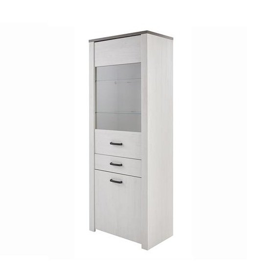 Adrina Display Cabinet In White Pine And Prata Oak