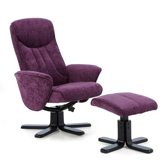 Cantrell Contemporary Recliner Chair In Amethyst Fabric