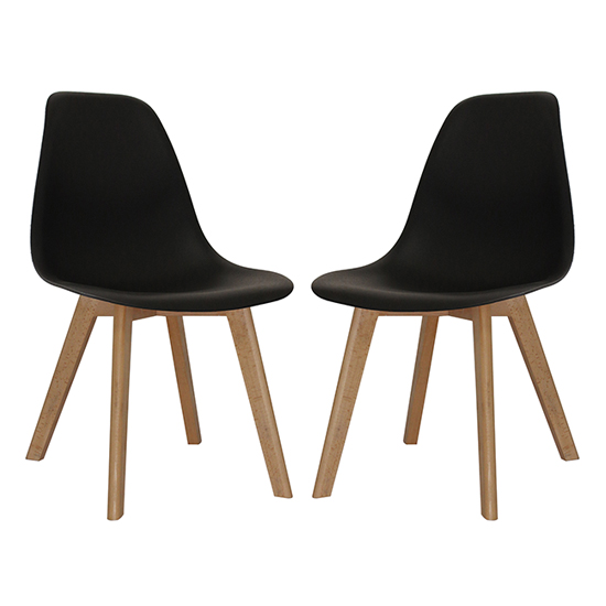 Canum Black Plastic Dining Chairs In Pair With Beech Legs