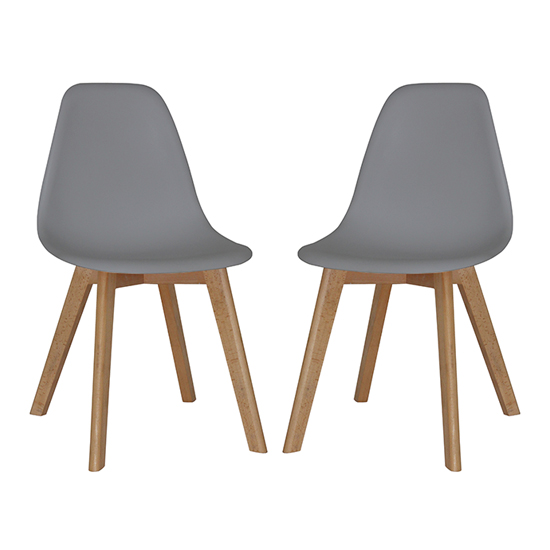Canum Grey Plastic Dining Chairs In Pair With Beech Legs