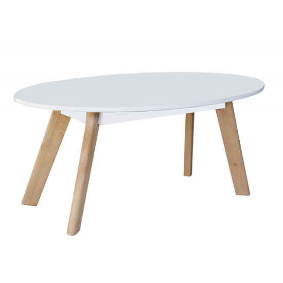 Canum Wooden Oval Coffee Table In White