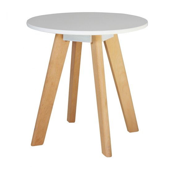 Canum Wooden Round Lamp Table In White