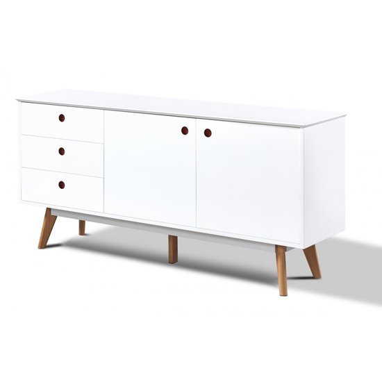 Canum Wooden Sideboard In White With 2 Doors And 3 Drawers