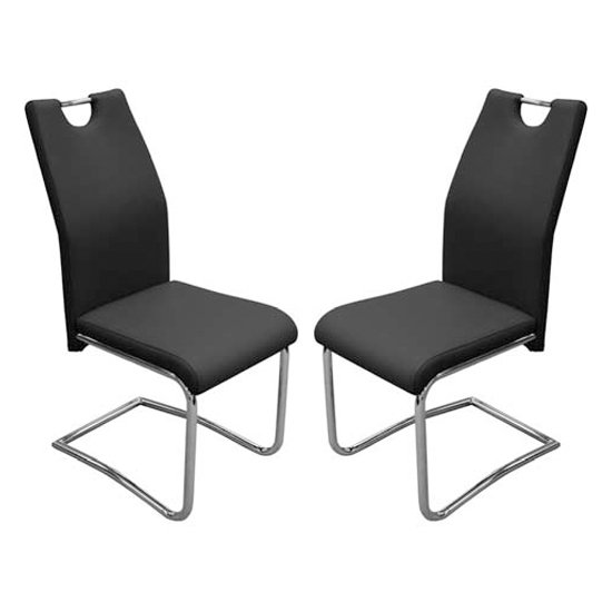 Capella Black Faux Leather Dining Chair In Pair