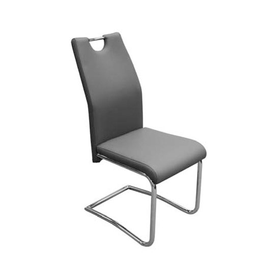 Capella Faux Leather Dining Chair In Grey