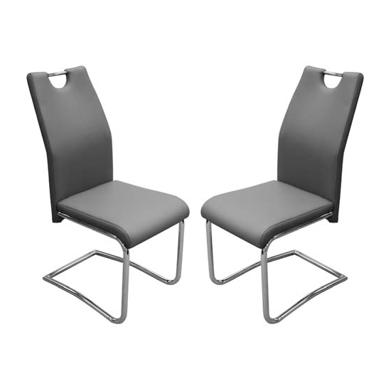 Capella Grey Faux Leather Dining Chairs In Pair