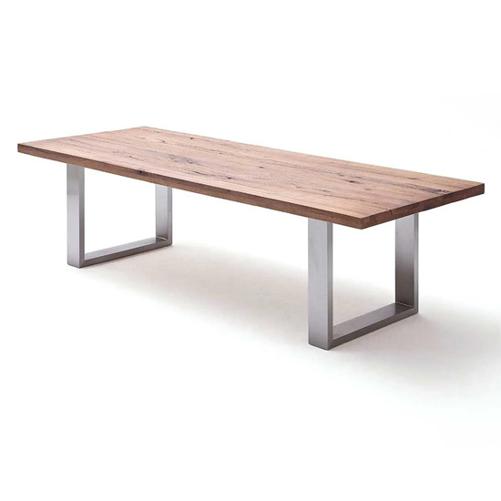 Capello 200cm Bassano Oak Dining Table Stainless Steel Legs