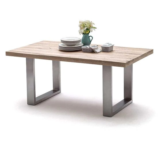Capello 200cm Limed Oak Dining Table And Stainless Steel Legs