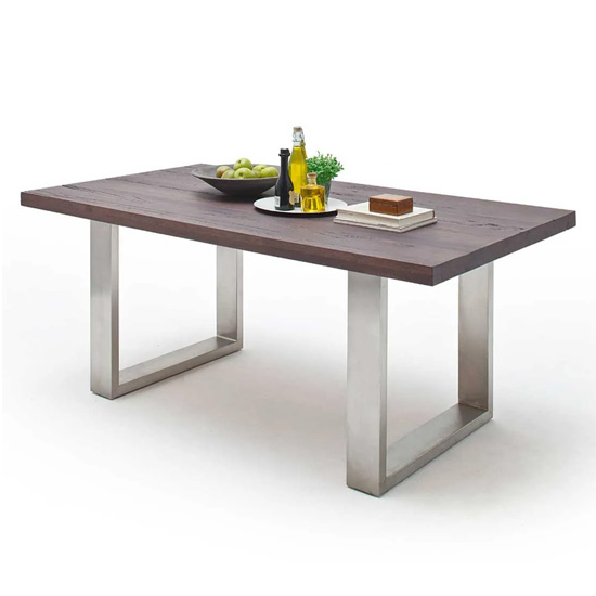 Capello 200cm Weathered Oak Dining Table Stainless Steel Legs