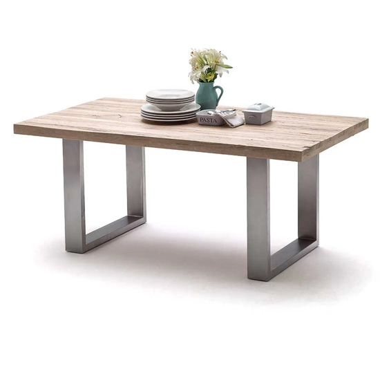 Capello 220cm Limed Oak Dining Table And Stainless Steel Legs
