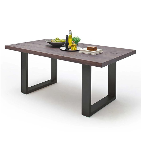 Capello 220cm Weathered Oak Dining Table And Anthracite Legs
