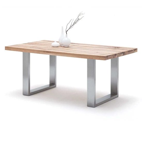 Capello 220cm Wild Oak Dining Table And Stainless Steel Legs
