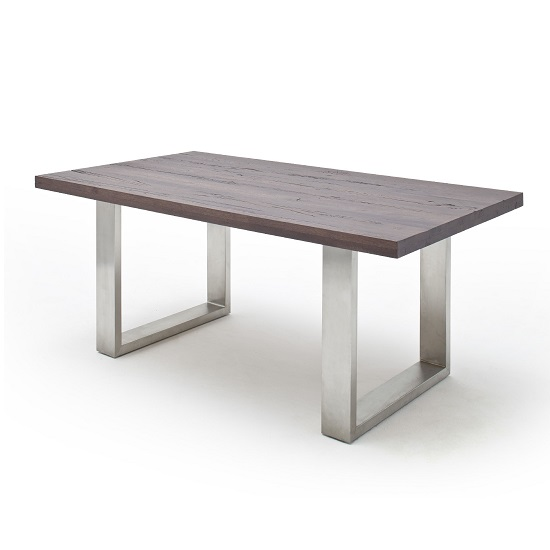 Capello 260cm Dining Table In Dark Oak With Stainless Steel Legs