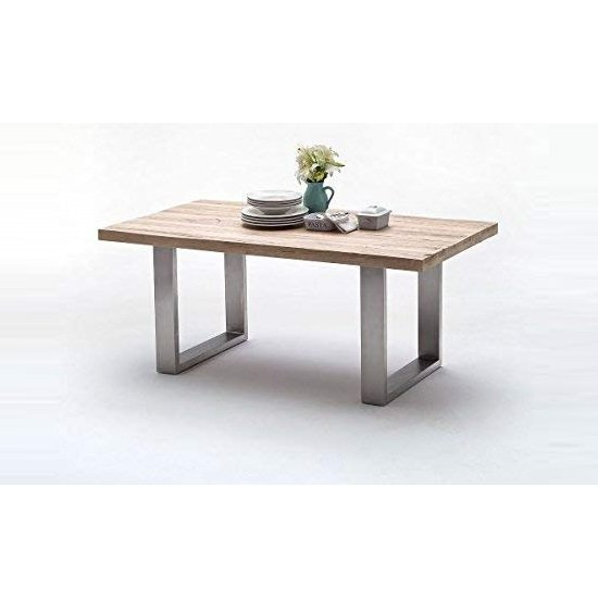 Capello 260cm White Oak Dining Table With Stainless Steel Legs