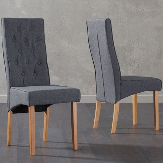 Caph Grey Fabric Chairs In Pair