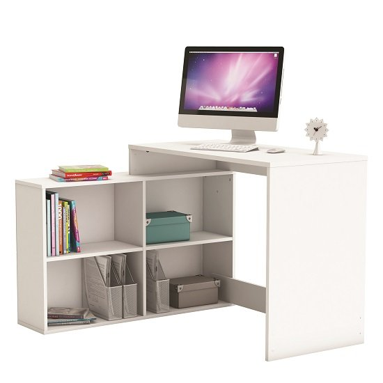 Captivating Capius Modern Corner Computer Desk In Pearl White