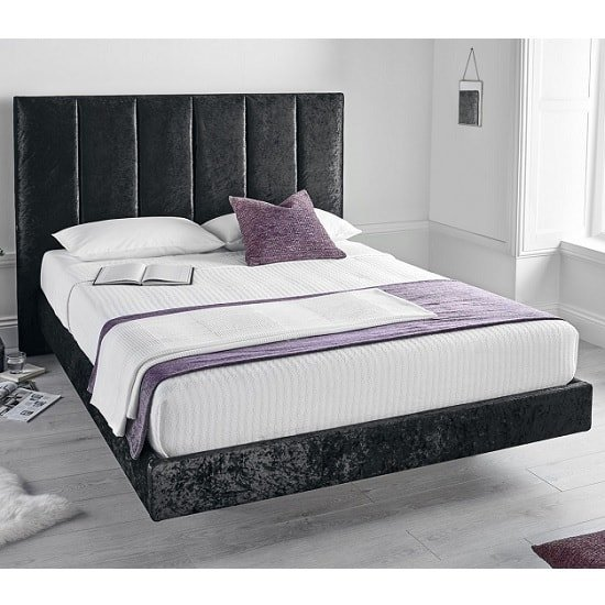 Capiz Double Bed In Crushed Velvet Black With 2 USB Slots