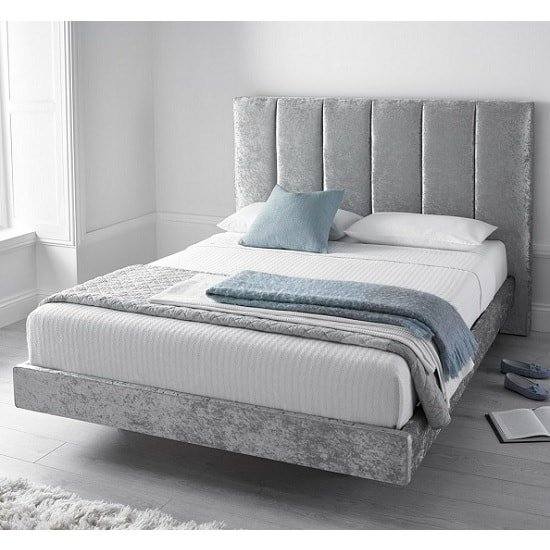 Capiz King Size Bed In Silver Crushed Velvet With 2 USB Slots