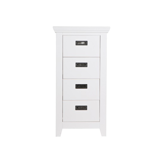 Capiz Chest of Drawers In White Pine With 4 Drawers