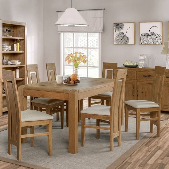 Capre Small Dining Table In Rustic Oak With Six Dining Chairs