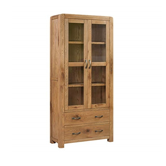Capre Mirrored Diplay Cabinet In Rustic Oak Finish_1