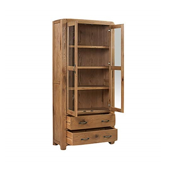 Capre Mirrored Diplay Cabinet In Rustic Oak Finish_2