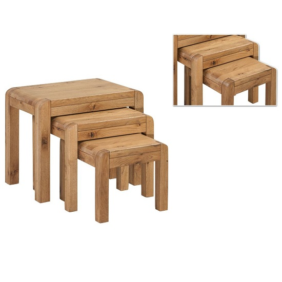 Capre Wooden Nest Of Tables In Rustic Oak Finish