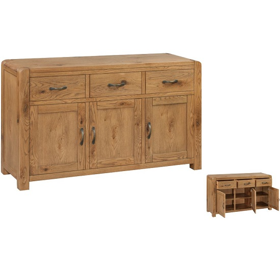 Capre Wooden Sideboard In Rustic Oak With Three Doors