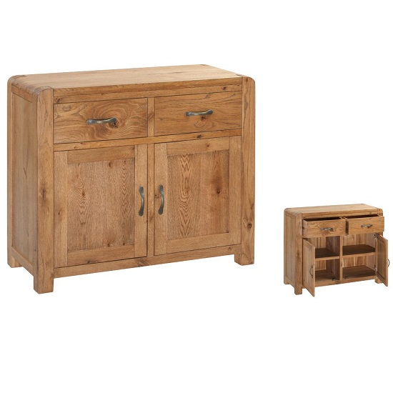 Capre Wooden Sideboard In Rustic Oak With Two Doors