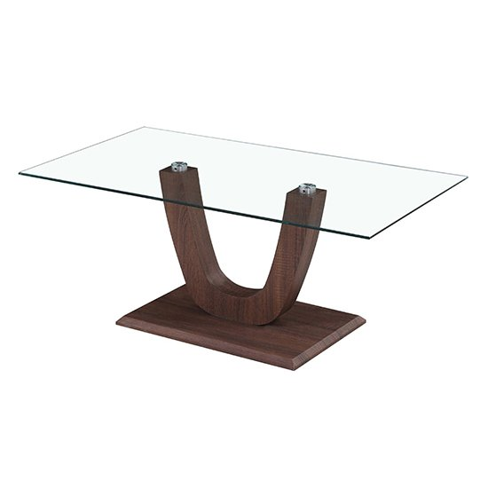 Capri Clear Glass Coffee Table In Walnut_1