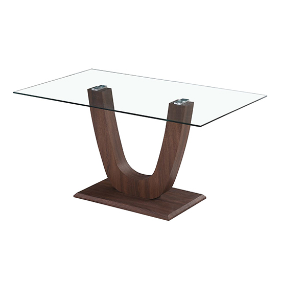 Capri Clear Glass Dining Table In Walnut_1