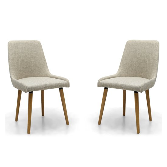 Capri Flax Effect Natural Dining Chairs In Pair