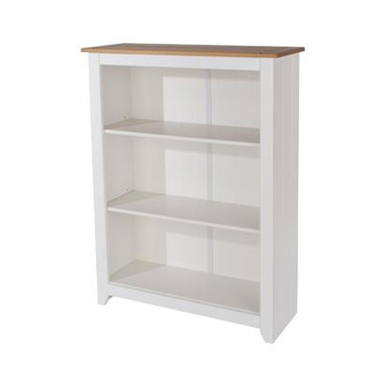 Product photograph showing Capri Low Bookcase In Arctic White With Adjustable Shelves