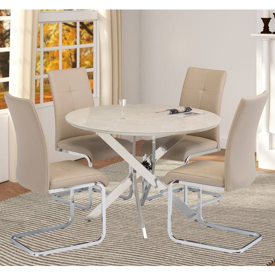 Capri Marble Effect Dining Set In Taupe With 4 Florence Chairs_1