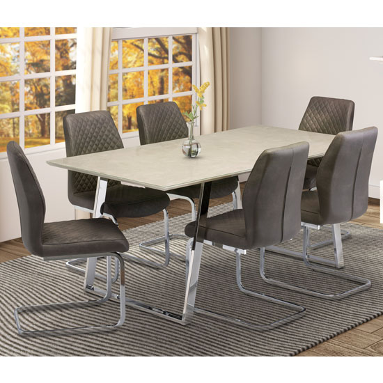 Capri Marble Effect Dining Set In Taupe With 6 Capri Chairs_1