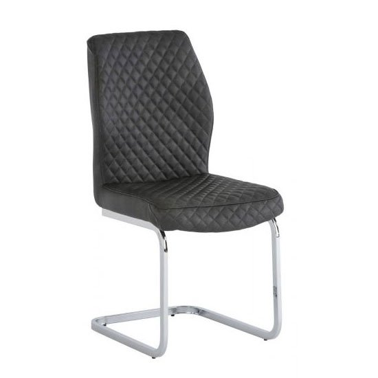 Capri PU Leather Dining Chair In Grey