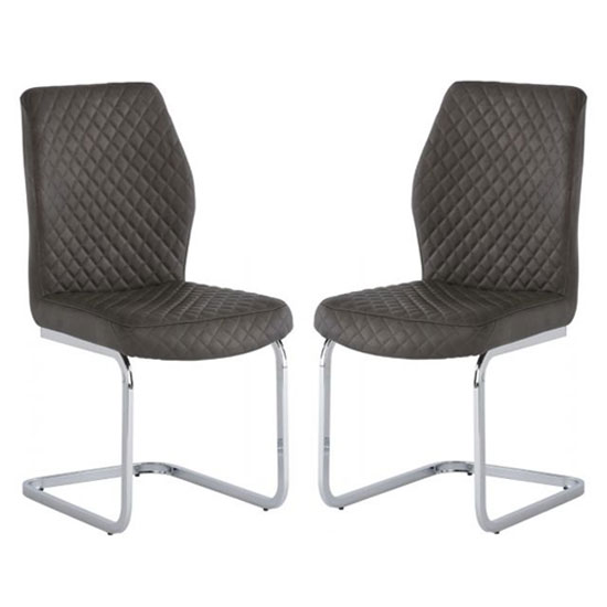 Capri Taupe PU Leather Dining Chair In A Pair