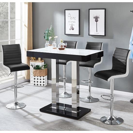 Caprice White Glass Bar Table Black Gloss 4 Ritz Black