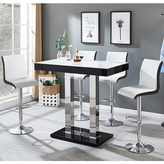 Caprice White Glass Bar Table Black Gloss 4 Ritz White Stools