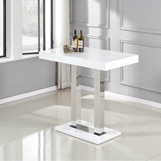 View Caprice bar table in white and stainless steel support