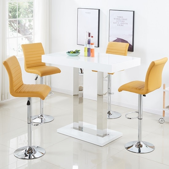 Caprice Bar Table In White Gloss With 4 Ripple Curry Stools
