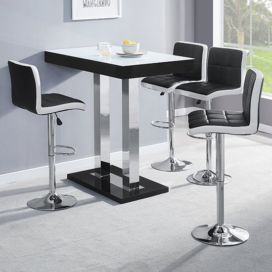 Caprice Black White Glass Bar Table 4 Copez Black White Stools